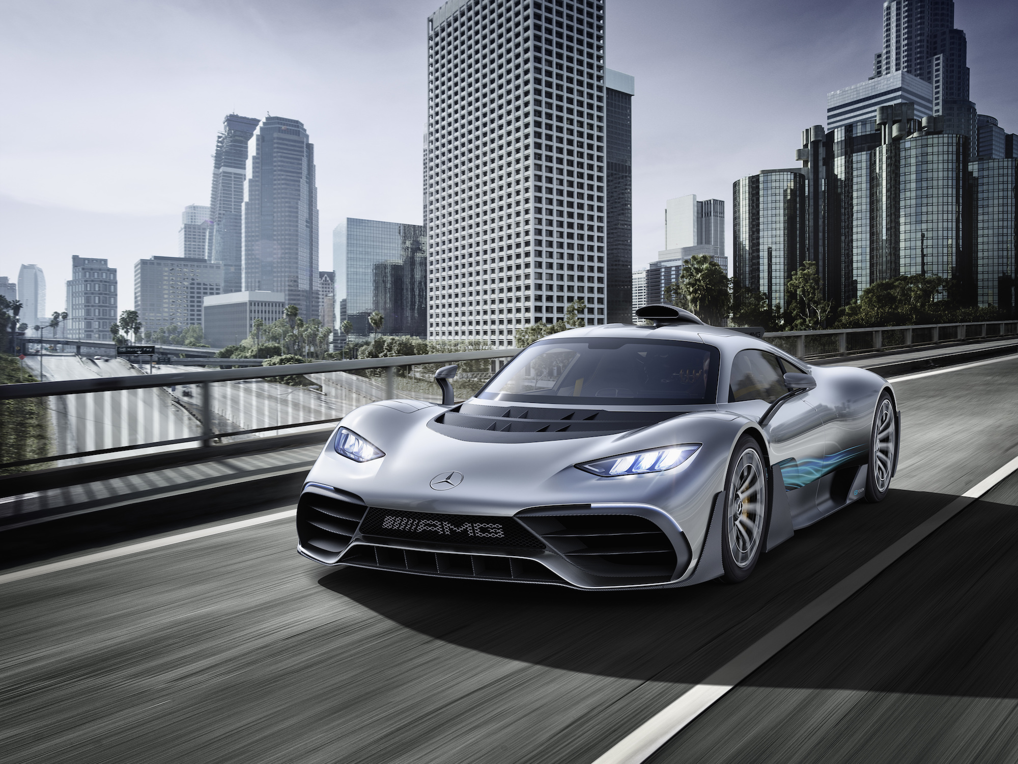 Showcar Mercedes-AMG Project ONE, zweisitziger Supersportwagen-mit modernster und effizientester Formel 1-Hybrid-Technologie, High Performance Plug-in Hybrid Antriebsstrang mit 1,6-Liter-V6-Turbobenzinmotor und vier Elektromotoren   Showcar Mercedes-AMG Project ONE, two-seater supersports car with the very latest and efficient, fully-fledged Formula 1 hybrid technology, high-performance plug-in hybrid drive system with 1.6 1.6-litre V6 turbocharged petrol engine and four electric motors