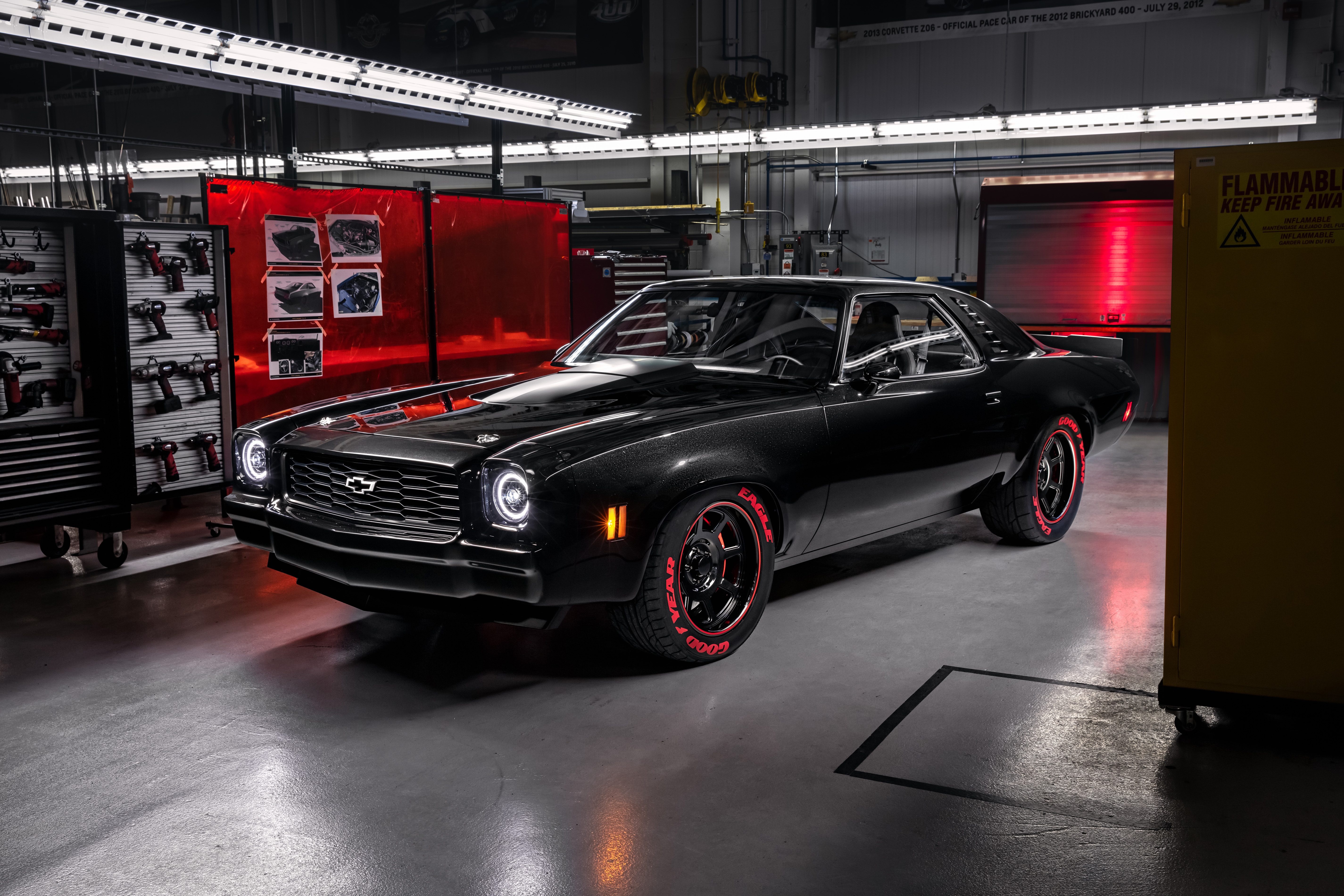 Chevrolet's racing-inspired 1973 Chevelle Laguna SEMA show car showcases the new LT5 crate engine, which is rated at 755 hp and 715 lb.-ft. of torque.