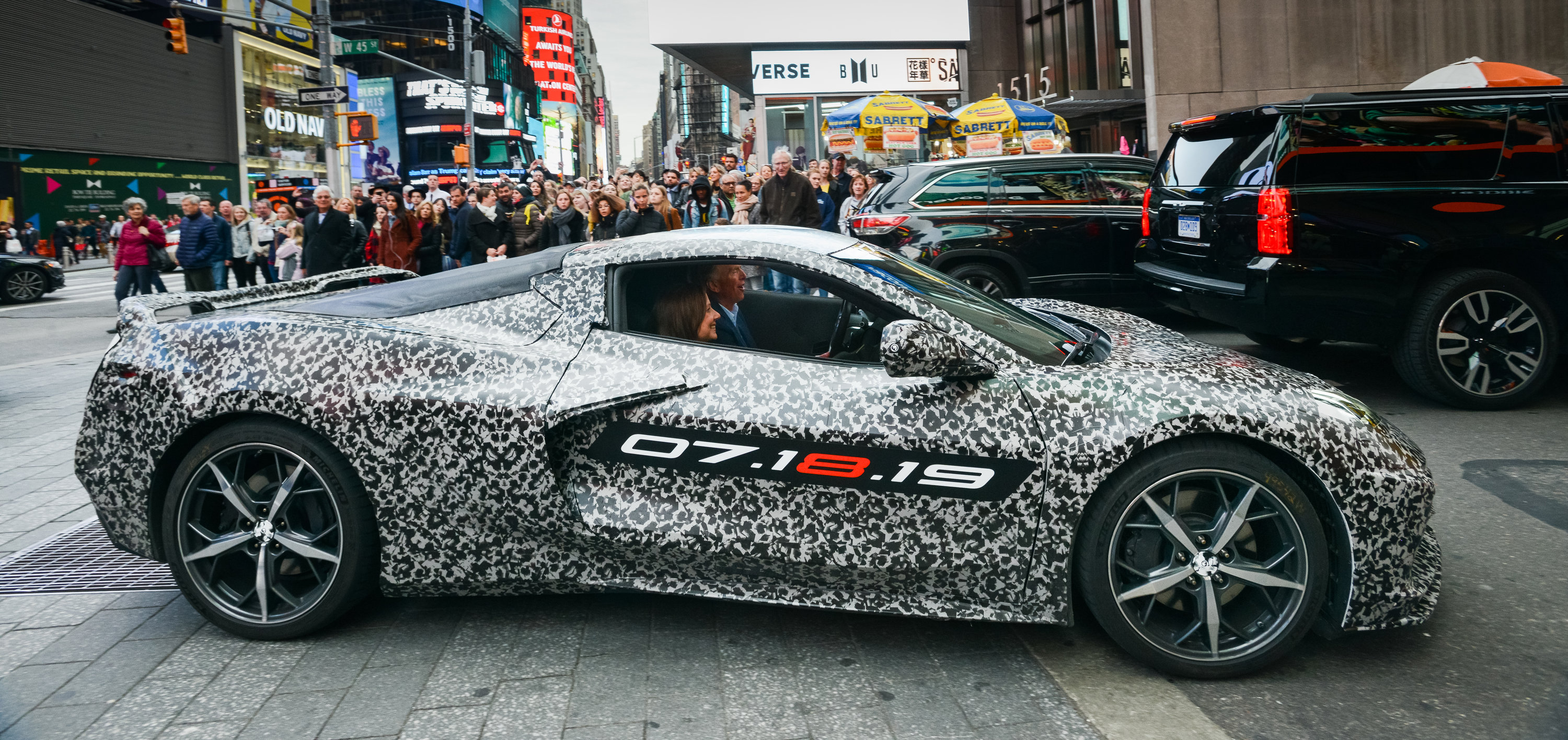The next generation Corvette will be revealed on July 18th, 2019. Marry Barra, General Motors Chairman and CEO arrived in a camouflaged Corvette at a Stephen Siller Tunnel to Towers Foundation charity event in New York.