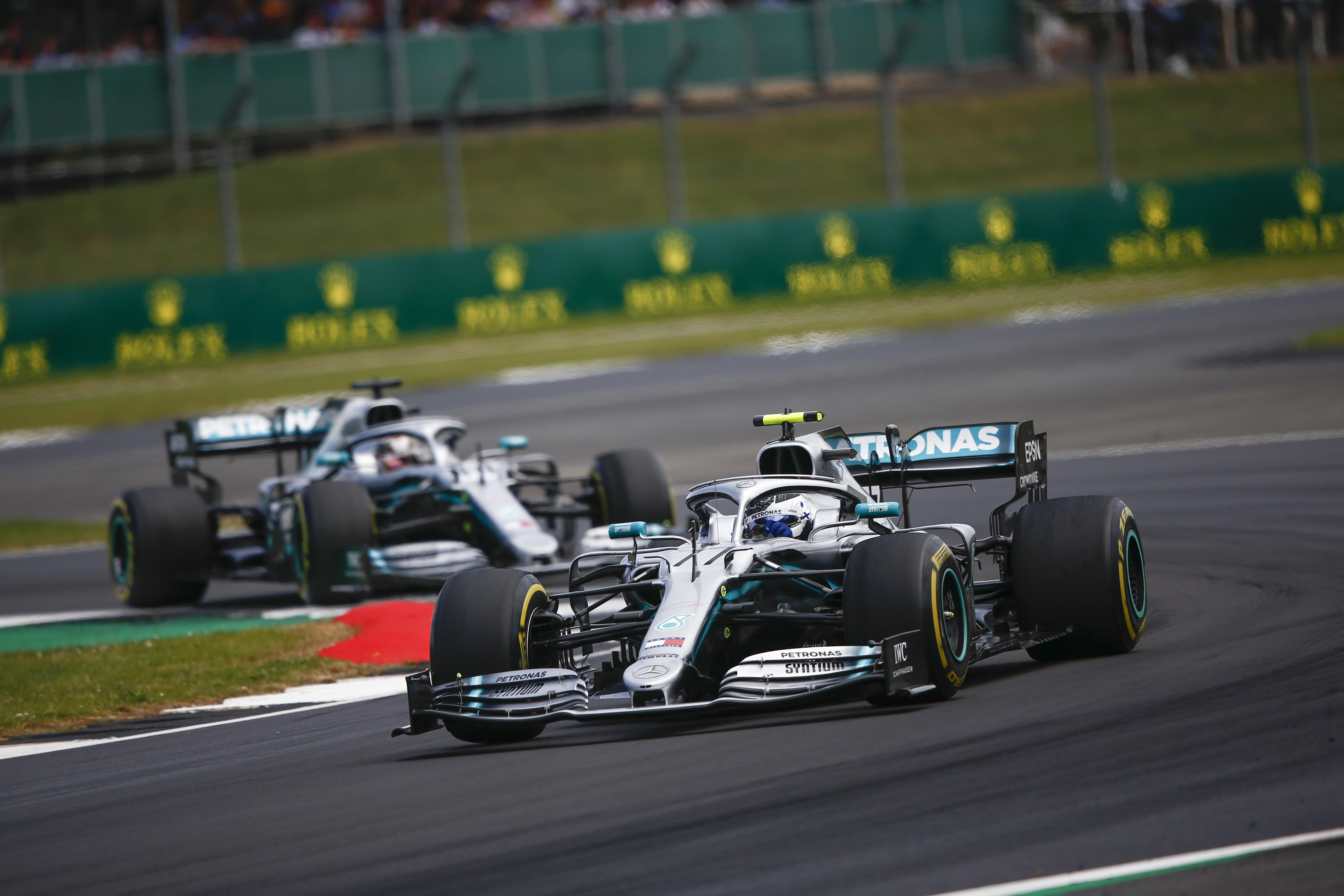 Formel 1 - Mercedes-AMG Petronas Motorsport, Großer Preis von Großbritannien 2019. Lewis Hamilton, Valtteri Bottas   Formula One - Mercedes-AMG Petronas Motorsport, British GP 2019. Lewis Hamilton, Valtteri Bottas