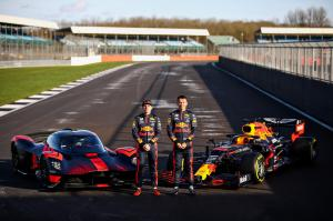 Aston Martin Valkyrie and Aston Martin Red Bull Racing RB16 joined by Max Verstappen and Alex Albon (1)